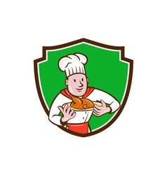 Chef cook roast chicken dish crest cartoon vector