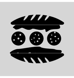 Flat in black and white sandwich with sausage vector