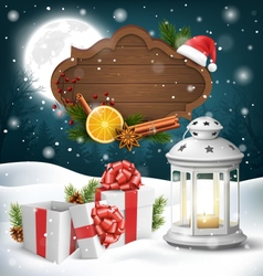 Christmas lantern with gift boxes wooden frame and vector