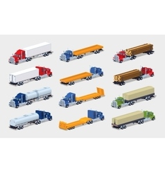 Collection of heavy trucks with semitrailers vector