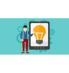 Man pointing at tablet computer with light bulb on vector image