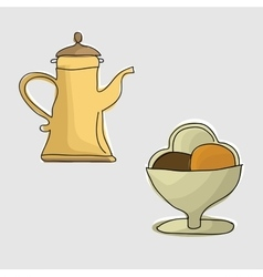 Coffee pot with coffee vector