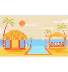 Happy sunny summer day at beach vector