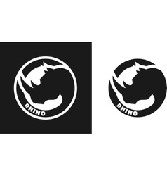 Silhouette of an rhino monochrome logo vector image