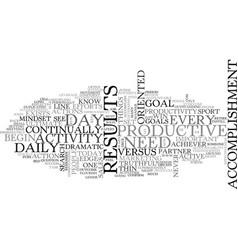 Activity vs accomplishment text word cloud concept vector