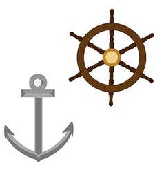 Anchor and wooden wheel vector image vector image