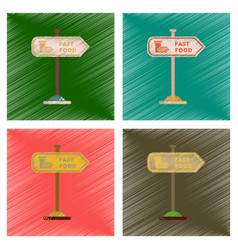 Assembly flat shading style icons fast food sign vector