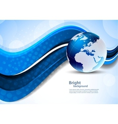 Blue background with globe vector image