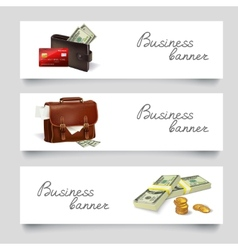 Briefcase money business banners vector image vector image
