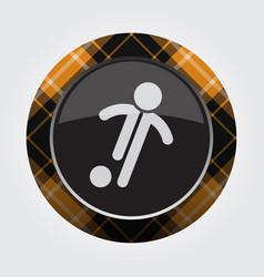 Button orange black tartan - football player icon vector