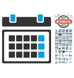 Calendar icon with 2017 year bonus symbols vector