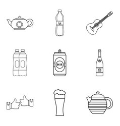 can of beer icons set outline style vector image