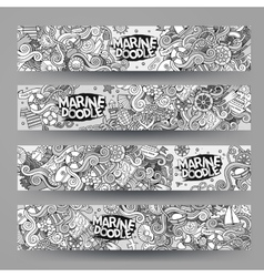 Cartoon marine nautical doodle corporate identity vector
