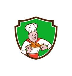 Chef cook roast chicken dish crest cartoon vector