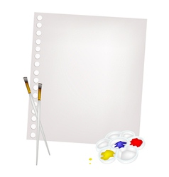Color paint in palette with brushes and blank page vector