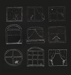 doodle windows set isolated on black background vector image