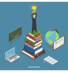 Education isometric flat concept vector image vector image
