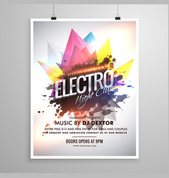 Electro night club music party flyer template vector