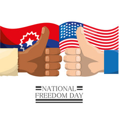 Flags and all good hands to national freedom vector