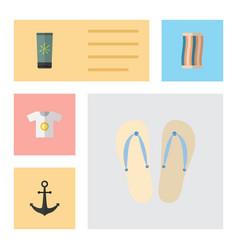 Flat hot set of beach sandals wiper clothes vector