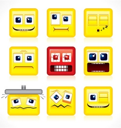 funny square smiles vector image vector image