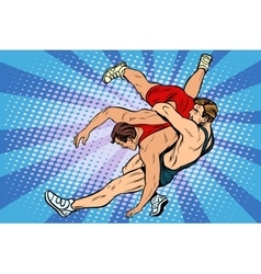 Greco roman wrestling men vector