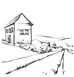 Hand drawn of a fields and house vector