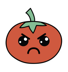 Kawaii cute angry tomato vegetable vector
