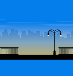 Landscape of city with street lamp silhouettes vector