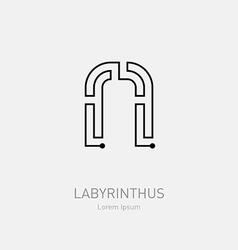 Letter N Labyrinth logo template Line art rebus vector image