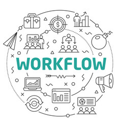 line flat circle workflow vector image vector image