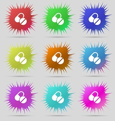 Medical pill icon sign a set of nine original vector