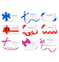 mega set of cards with colorful gift bows vector image