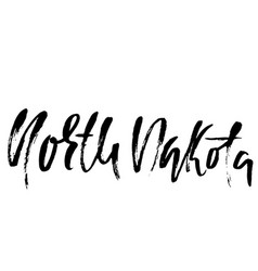 North dakota modern dry brush lettering retro vector