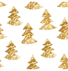 Seamless pattern with gold leaf textured spruces vector image vector image