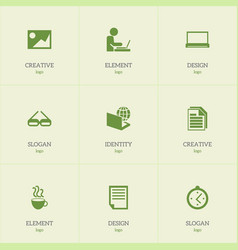 Set of 9 editable office icons includes symbols vector