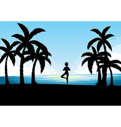 Silhouette scene with person doing yoga vector
