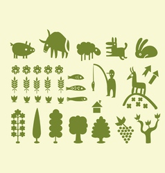 silhouettes of trees and animals vector image vector image