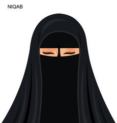 - black niqab muslim woman vector
