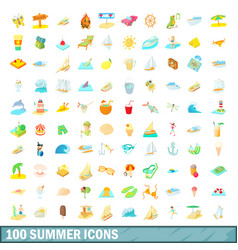 100 summer icons set cartoon style vector image vector image
