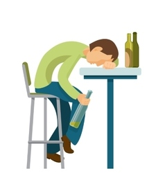 Alcohol abuse concept guy has drunk too much vector