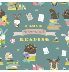 Seamless pattern with animals reading books vector