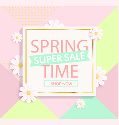 Spring sale geometric background vector
