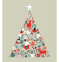 Christmas icons pine tree vector