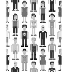 Pixel people seamless pattern vector image