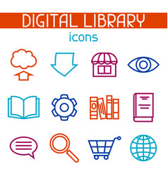Digital library icon set e-books reading and vector