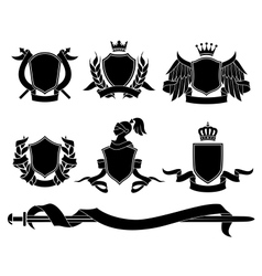 Set of heraldic black emblems vector