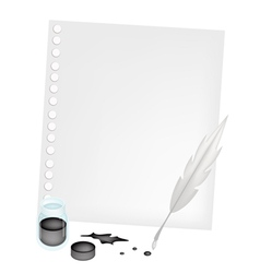 Blank paper with an inkwell and feather vector