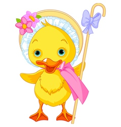Easter duckling with shepherdess staff vector