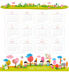 Calendar for 2016 with cartoon and funny animals vector